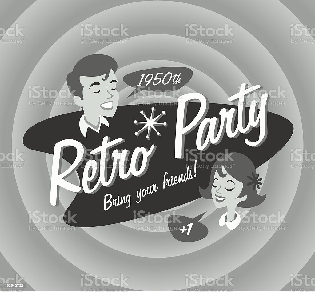 Retro party poster vector art illustration