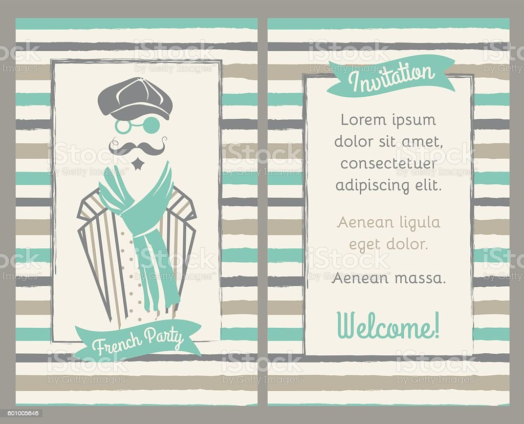 Retro party vertical invitation, greeting card with man in cap vector art illustration