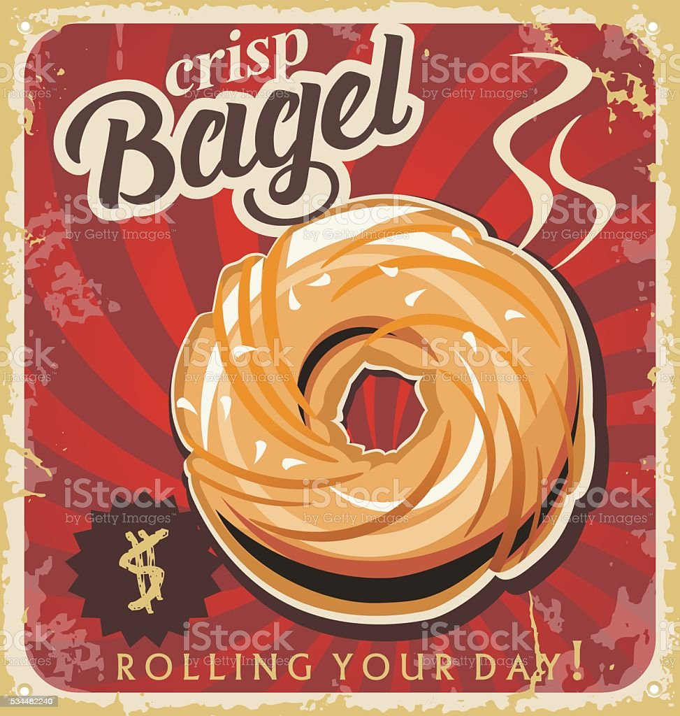 Retro pastry sign, bakery. Retro bakery bagel poster on old paper texture. vector art illustration