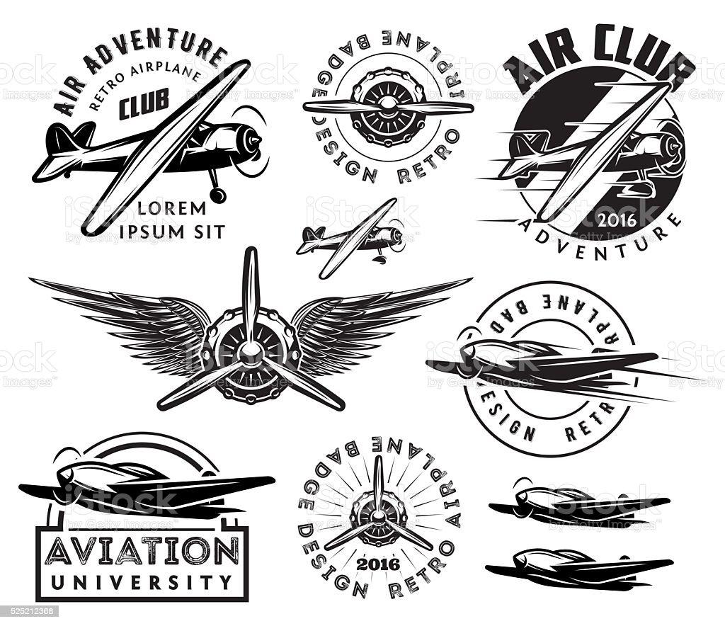 retro pattern set of planes, badges, design elements vector art illustration