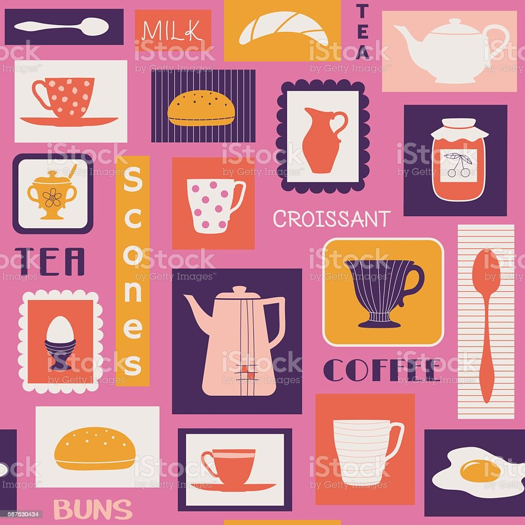 Retro pattern with dishes for breakfast vector art illustration