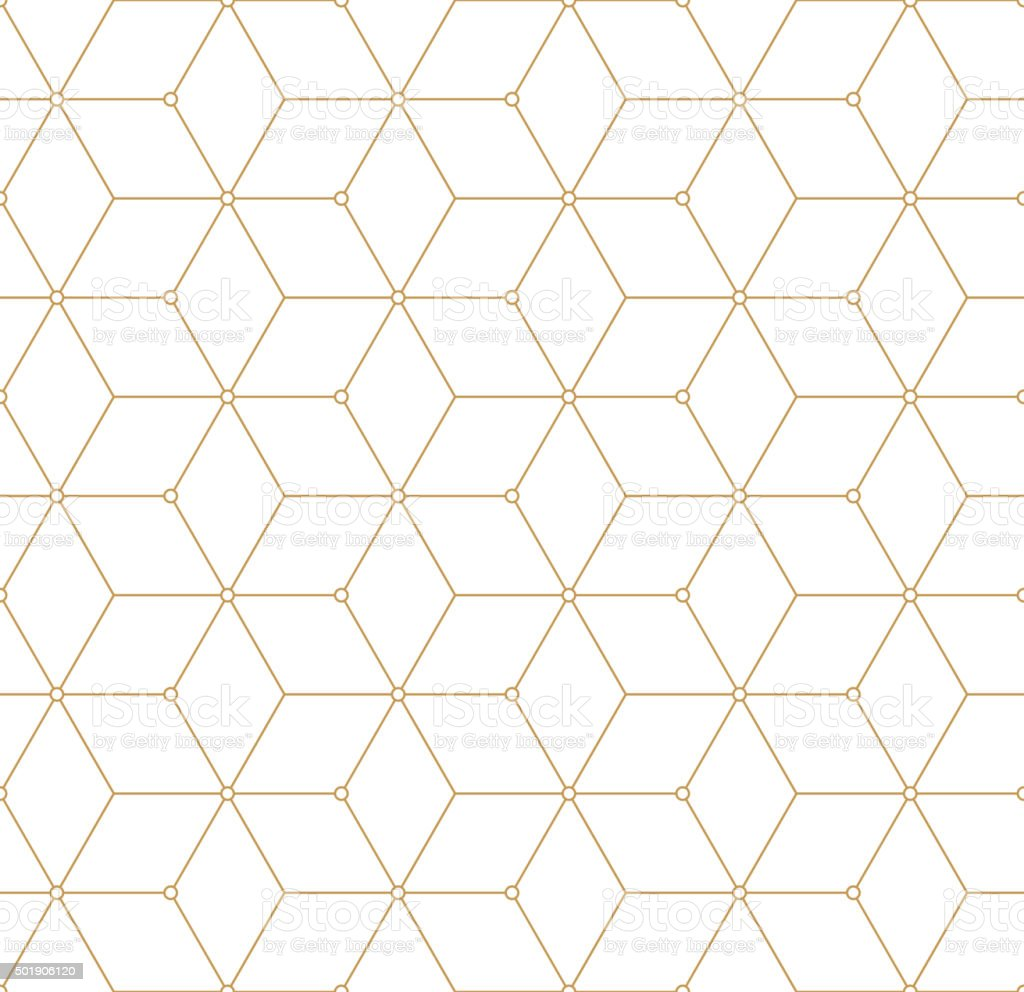 Retro Pattern with Golden Squares. Vector seamless outline background royalty-free stock vector art
