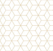 Retro Pattern with Golden Squares. Vector seamless outline background