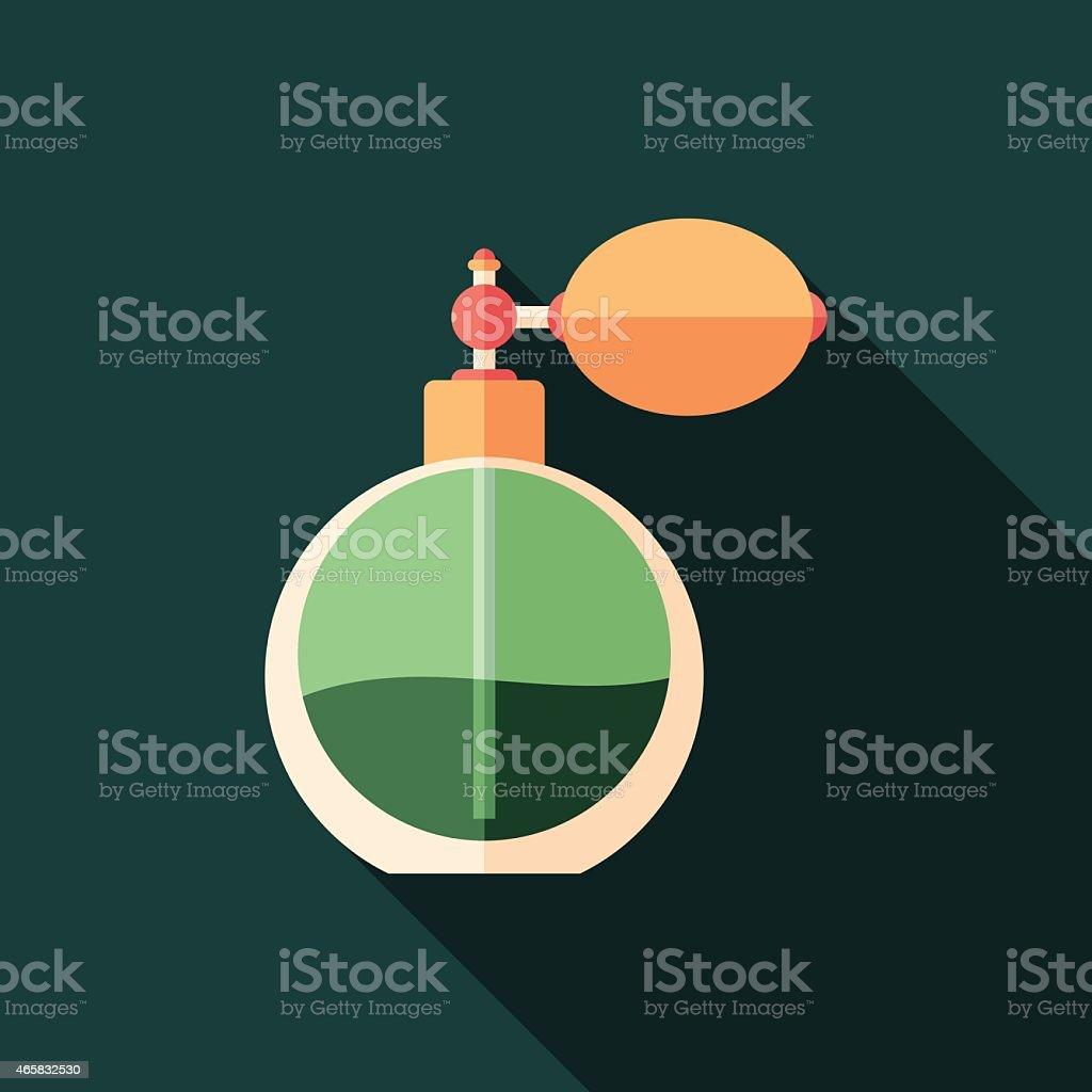 Retro perfume bottle flat square icon with long shadows. vector art illustration