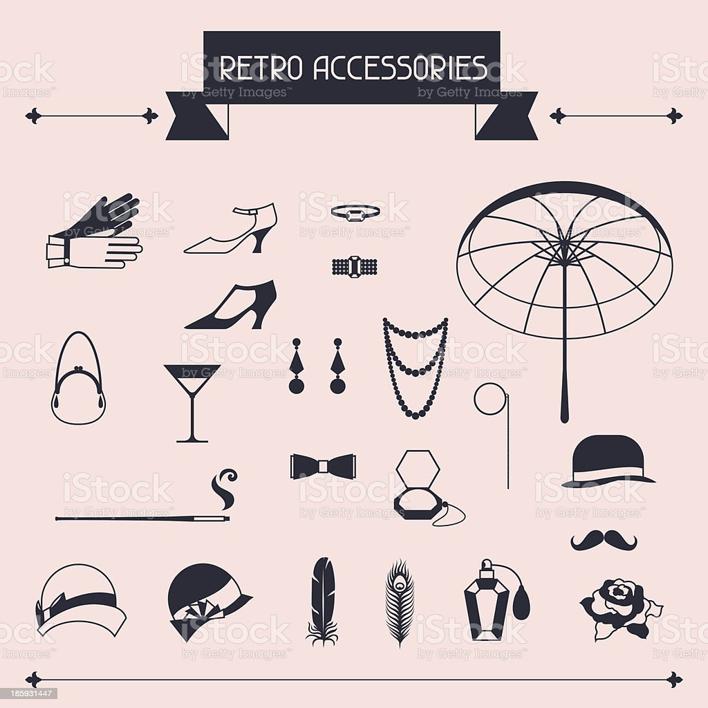 Retro personal accessories, icons and objects of 1920s style. vector art illustration