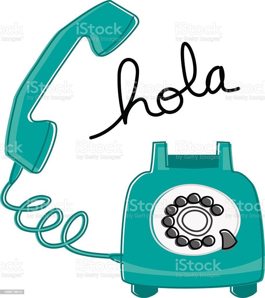 Retro Phone Hola vector art illustration