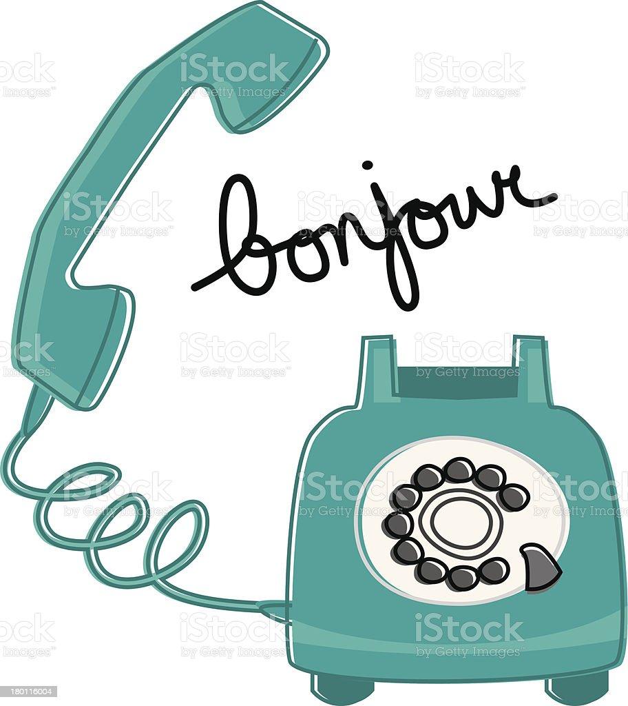 Retro Phone Says Bonjour vector art illustration