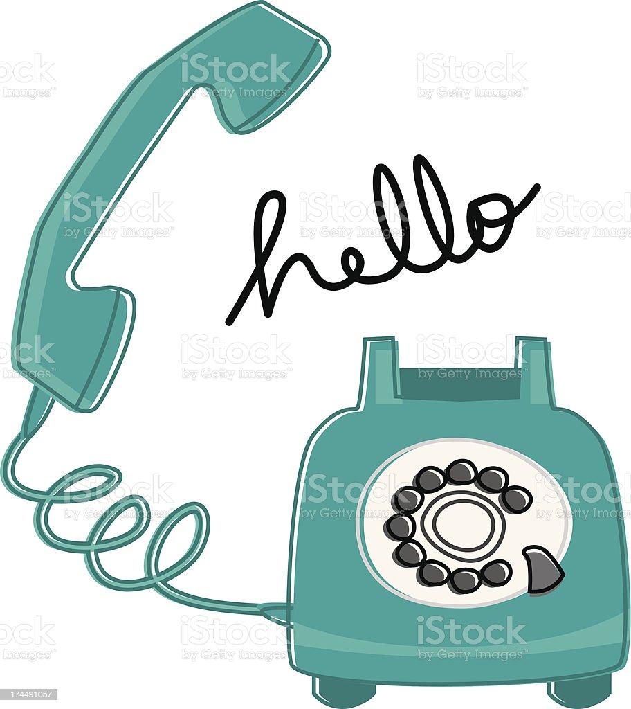 Retro Phone Says Hello vector art illustration