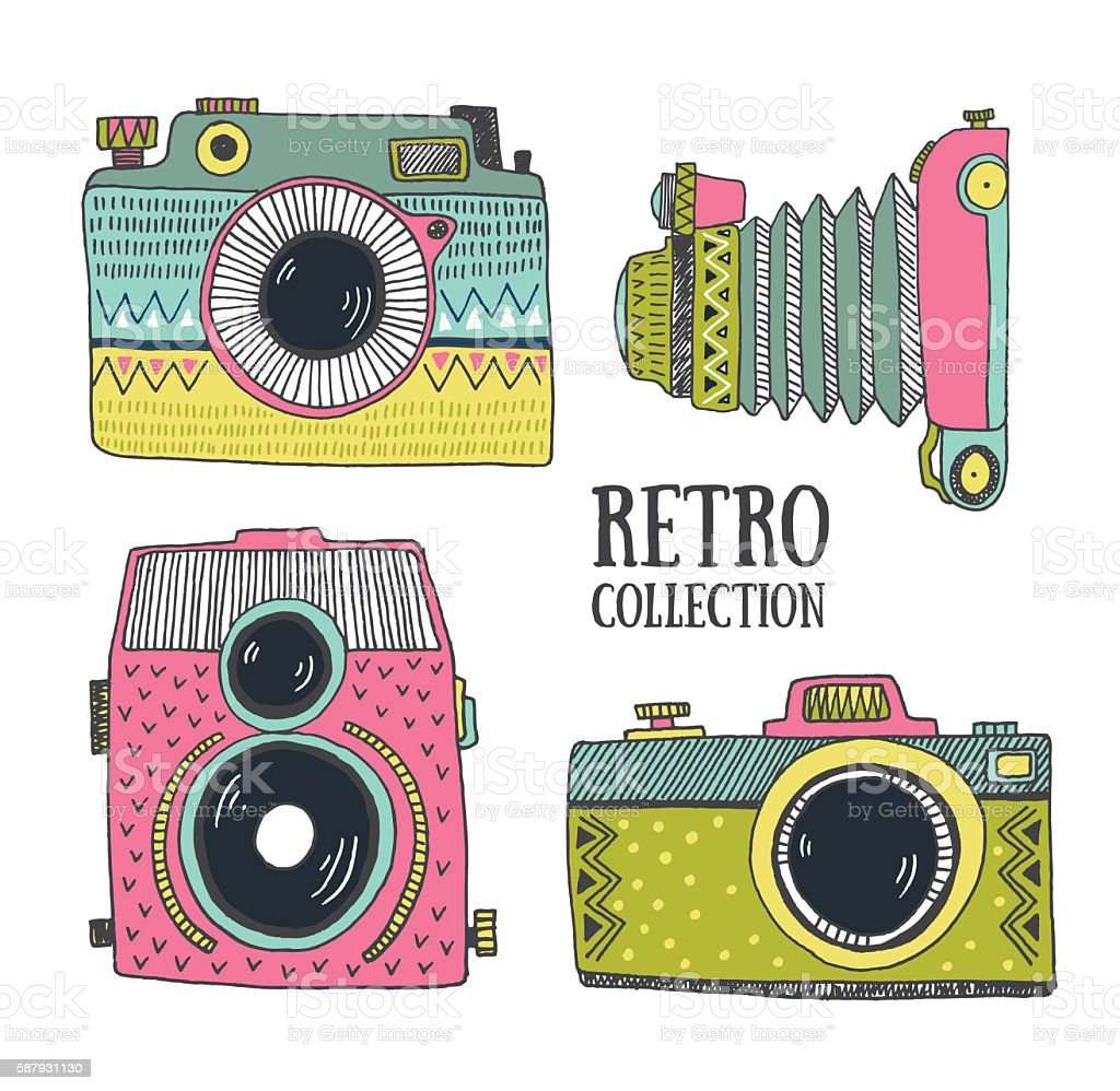 Retro photo cameras set. Vector illustration. vector art illustration