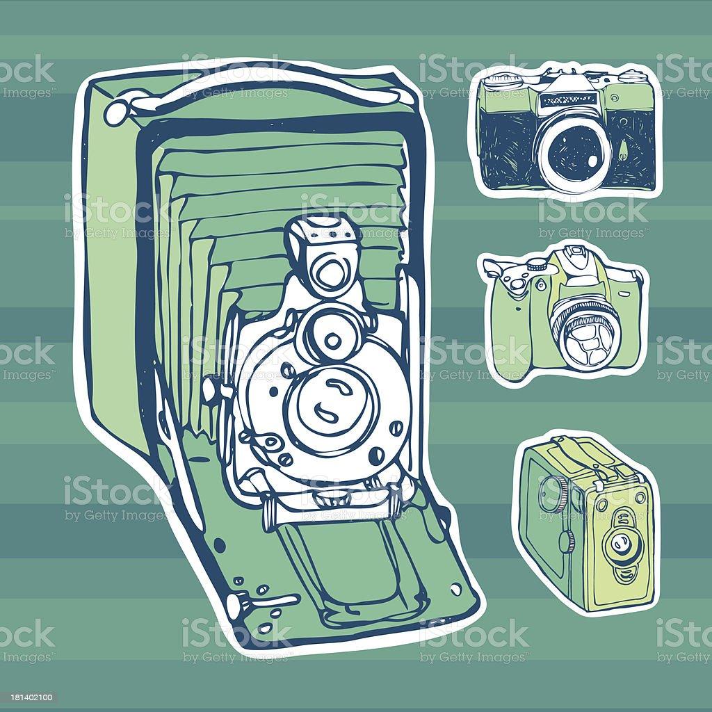 retro photo cameras royalty-free stock vector art