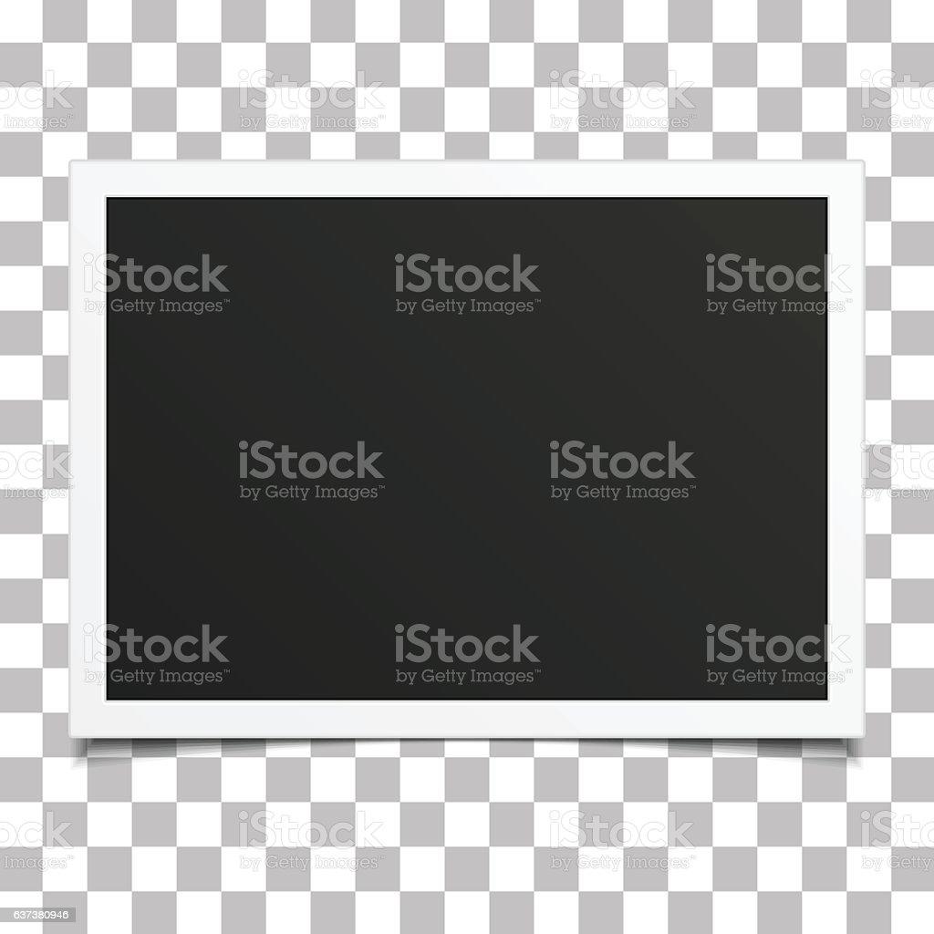 Retro photo frame with shadow. vector art illustration