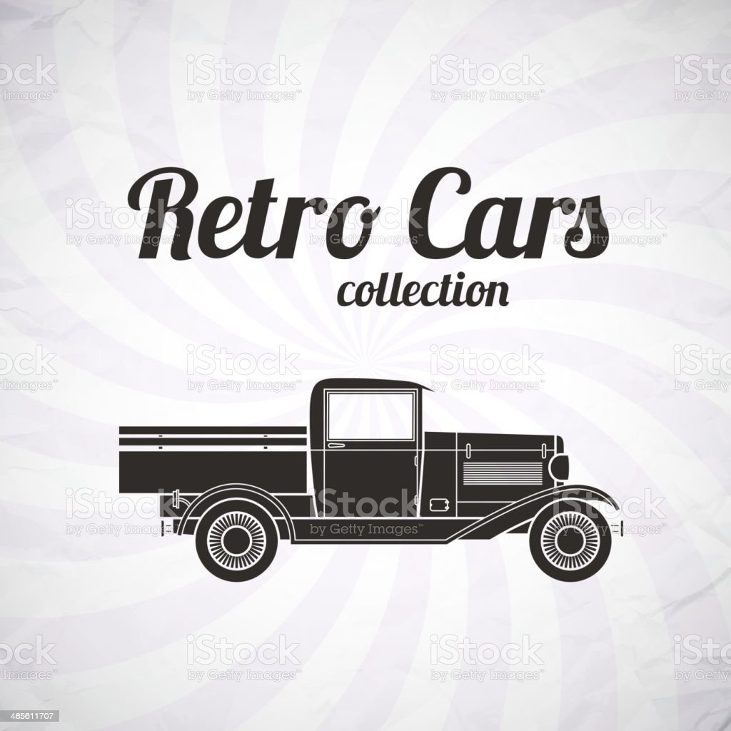 Retro pickup, truck car, vintage collection royalty-free stock vector art
