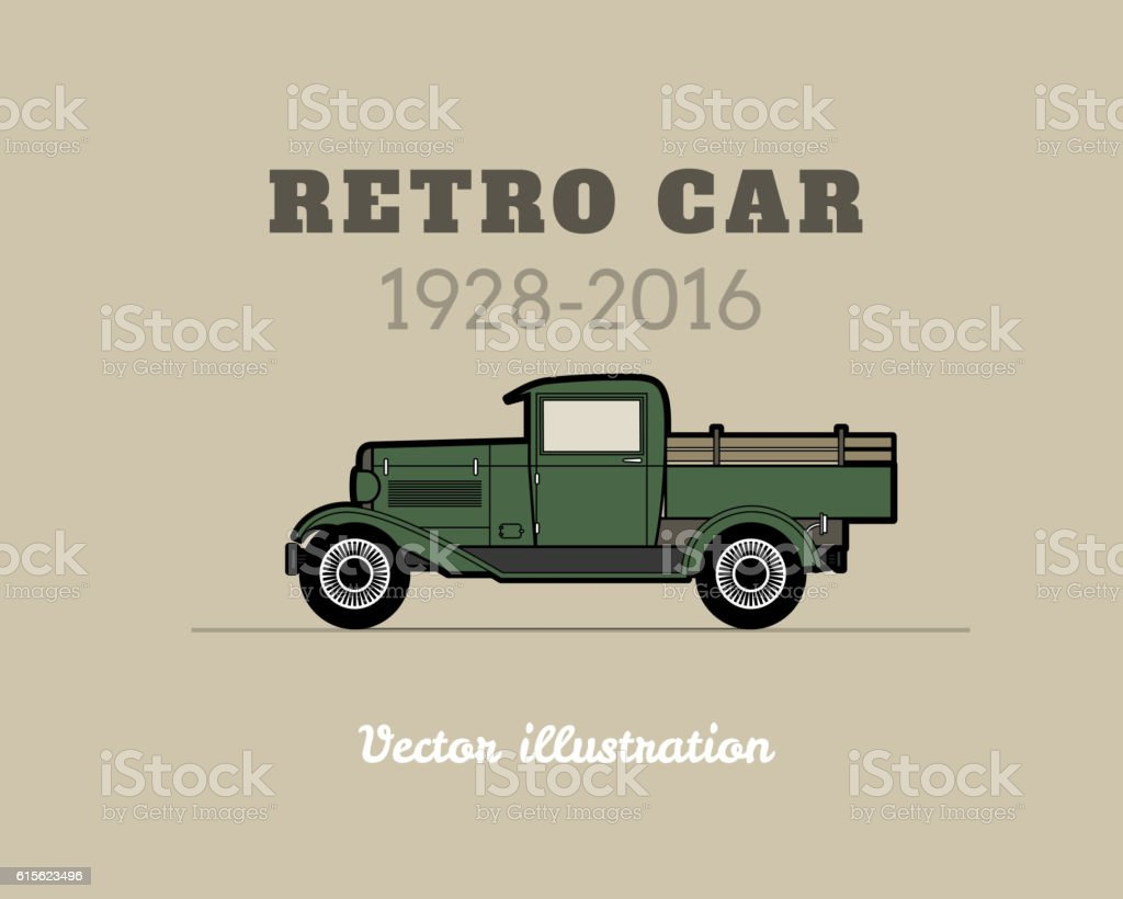 Retro pickup, truck car, vintage collection vector art illustration