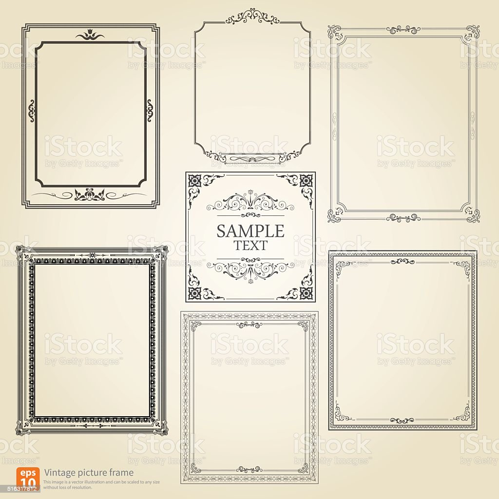 Retro picture frame vector art illustration