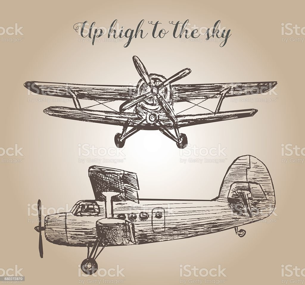 Retro plane illustration vector art illustration