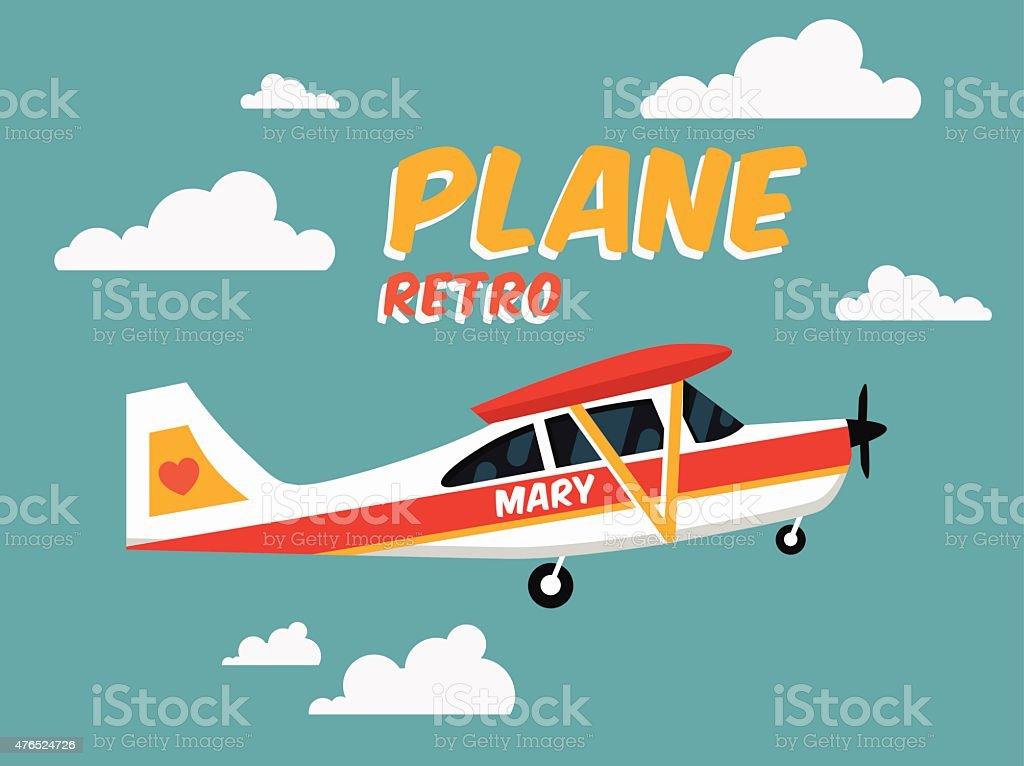 Retro Plane vector art illustration