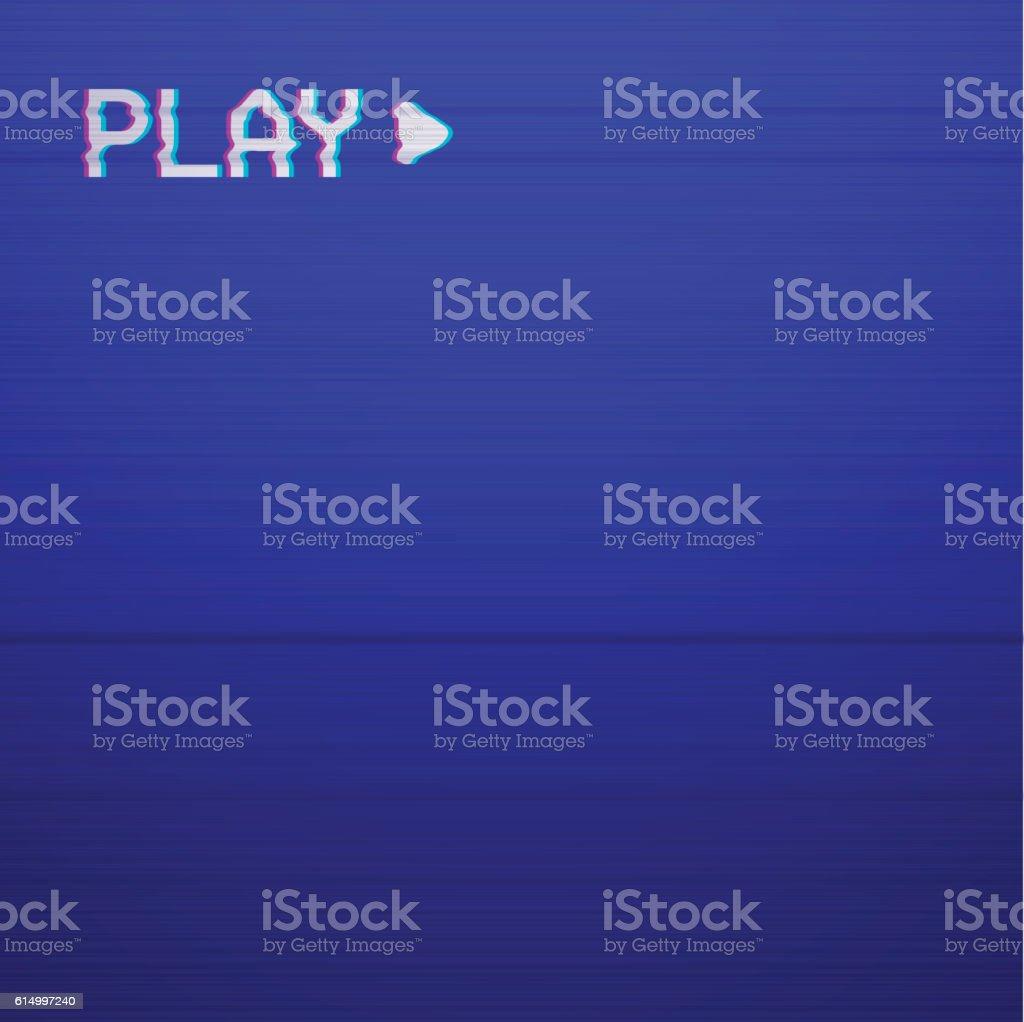 Retro Play TV screen vector art illustration