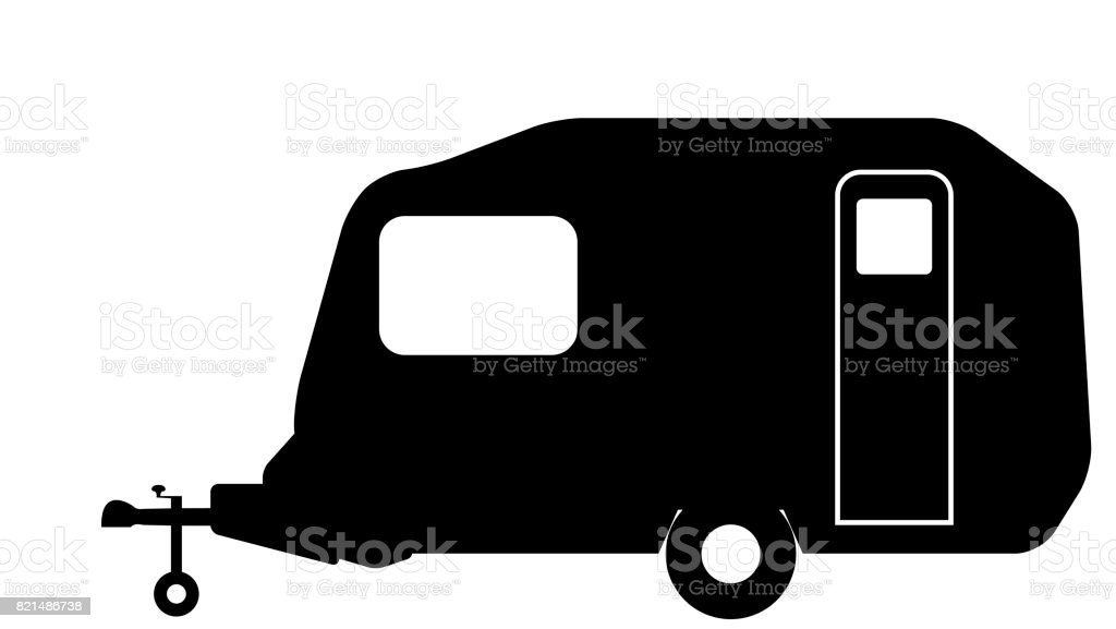 Retro Pod Caravan Sihlouette vector art illustration