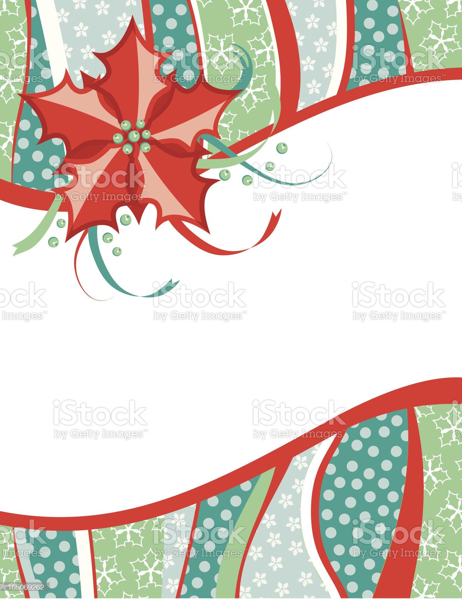 Retro Poinsettia Christmas Card royalty-free stock vector art