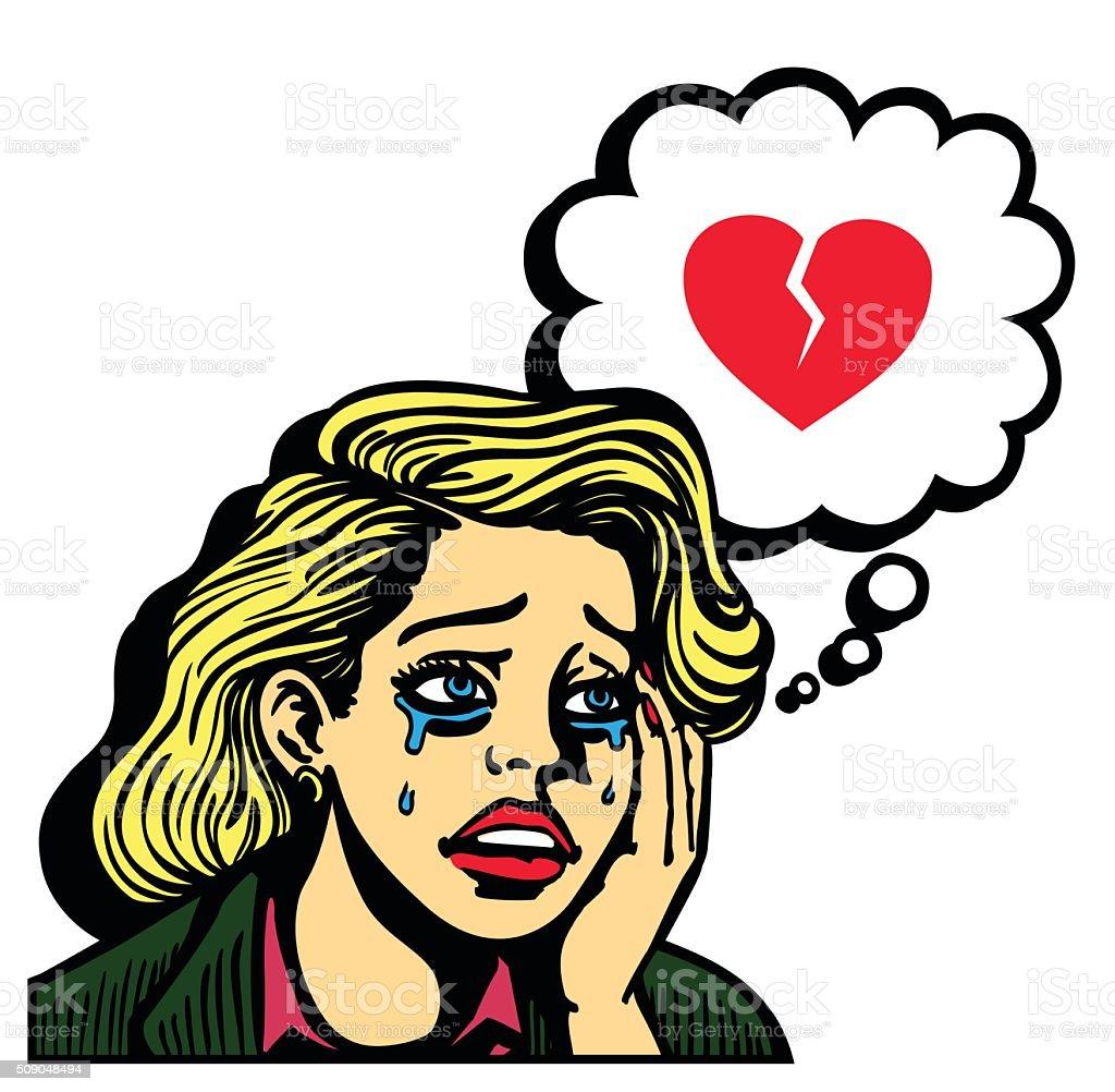 Retro pop art broken hearted girl crying vector illustration vector art illustration