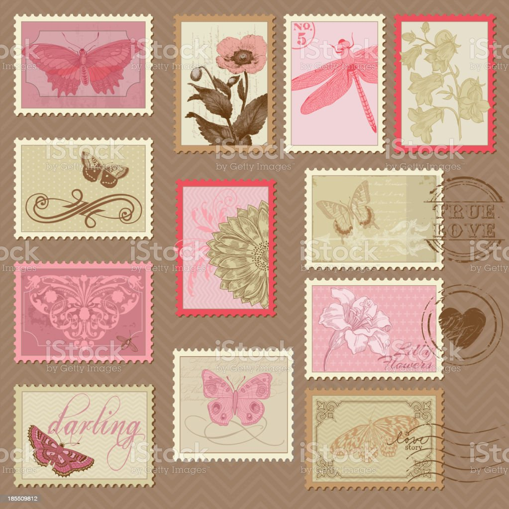 Retro Postage Stamps - with butterflies and flowers royalty-free stock vector art