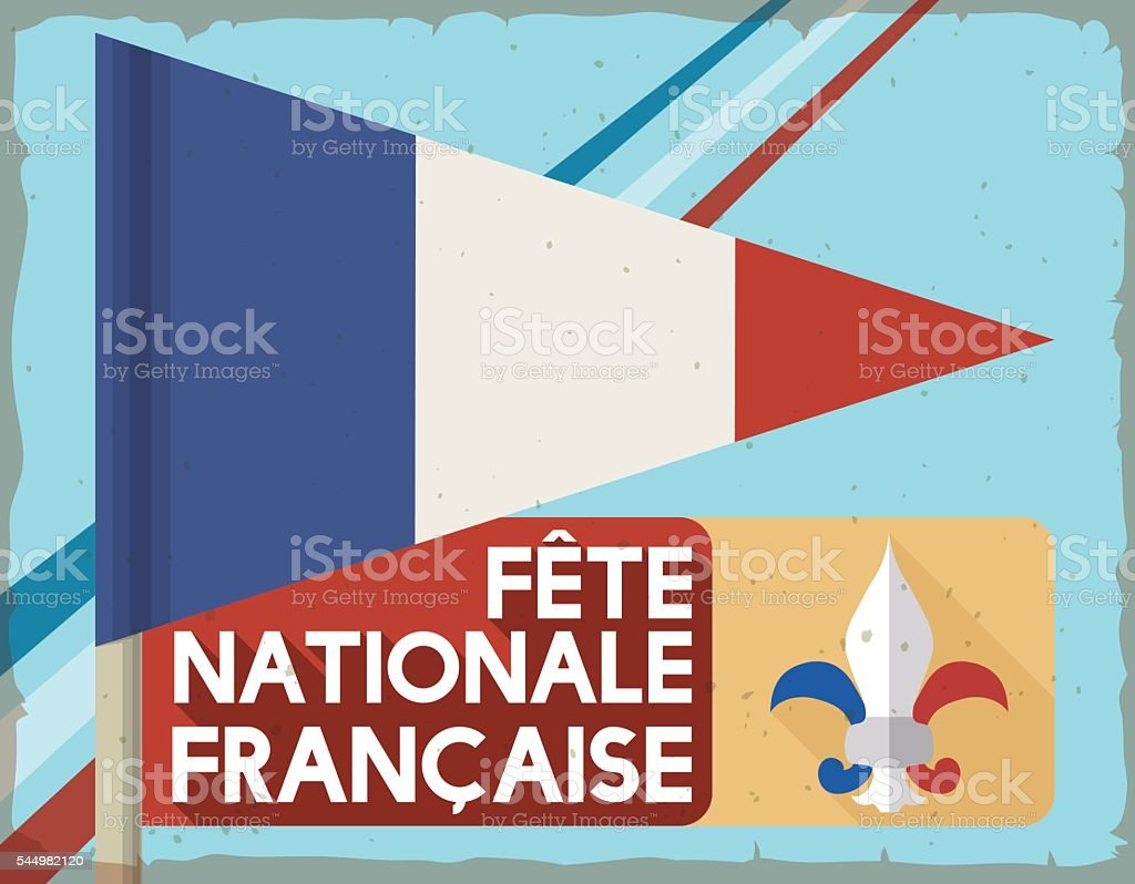 Retro Postcard with Pennant and Label Commemorating French National Day vector art illustration
