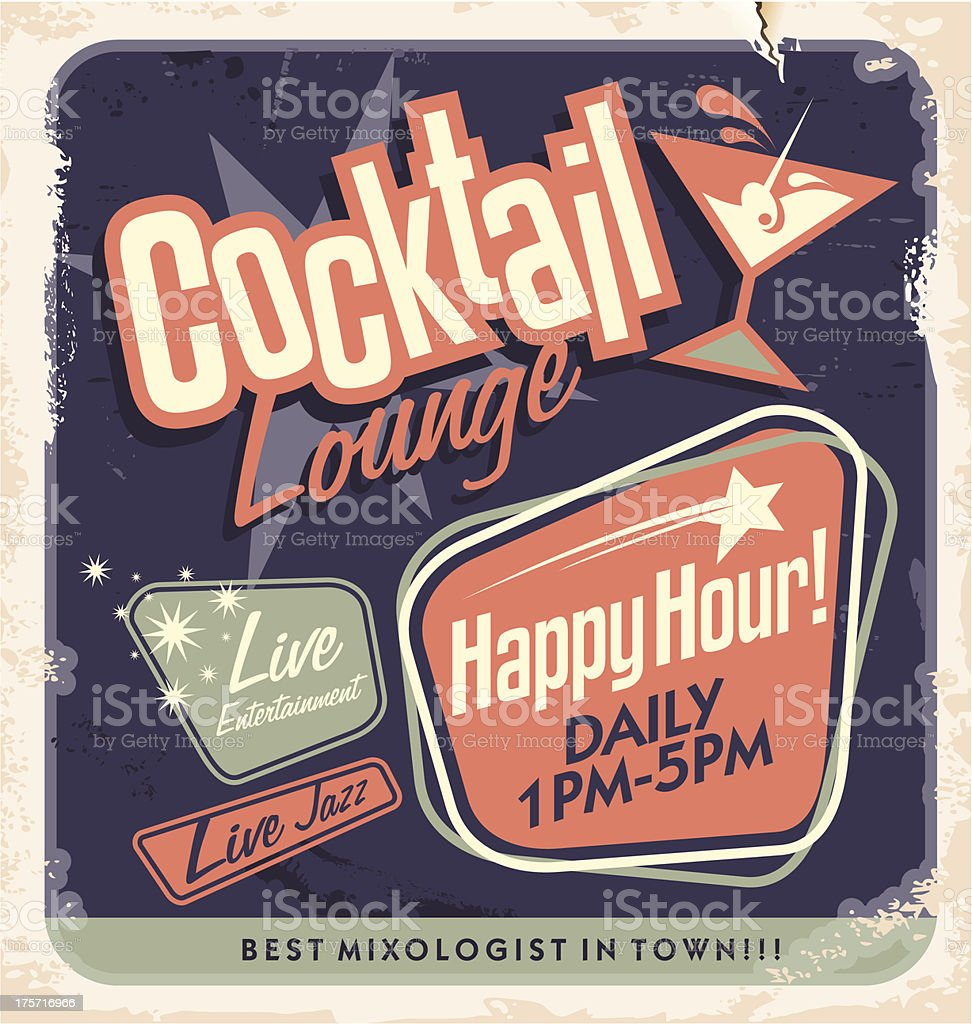 Retro poster design for cocktail lounge vector art illustration