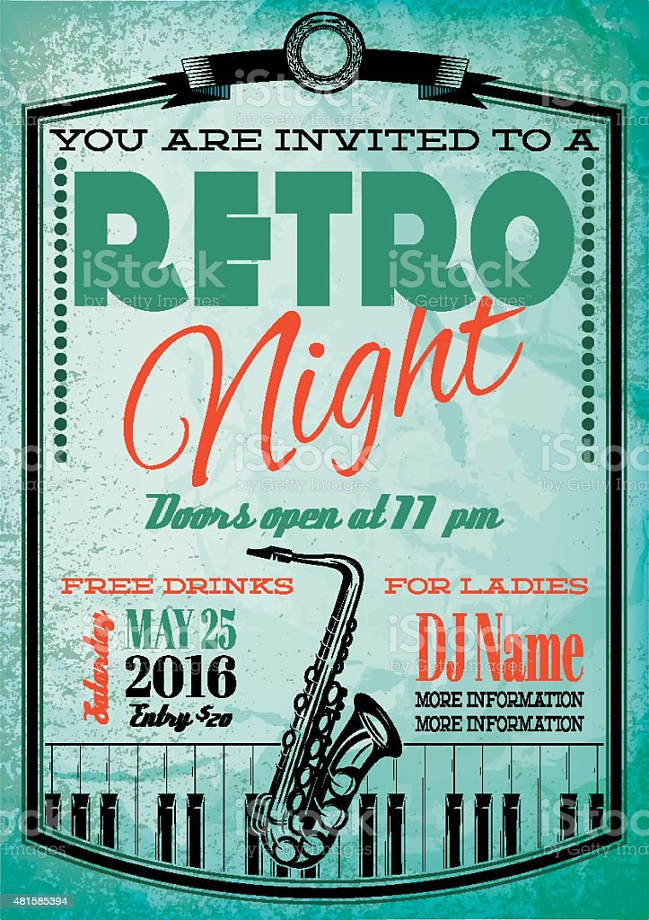 retro poster for billboard with saxophone and piano vector art illustration