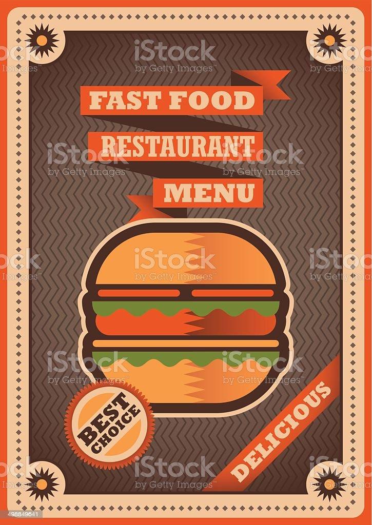 Retro poster for fast food restaurant. vector art illustration