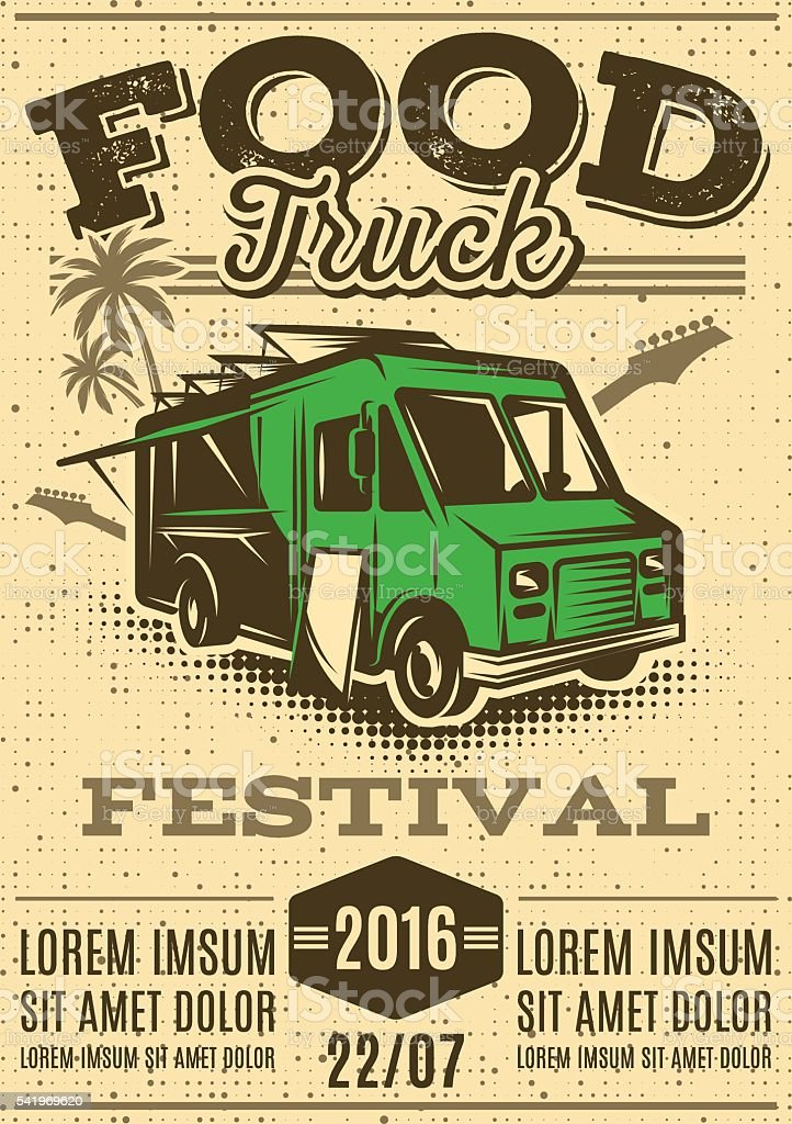 retro poster for street food festival with food truck vector art illustration