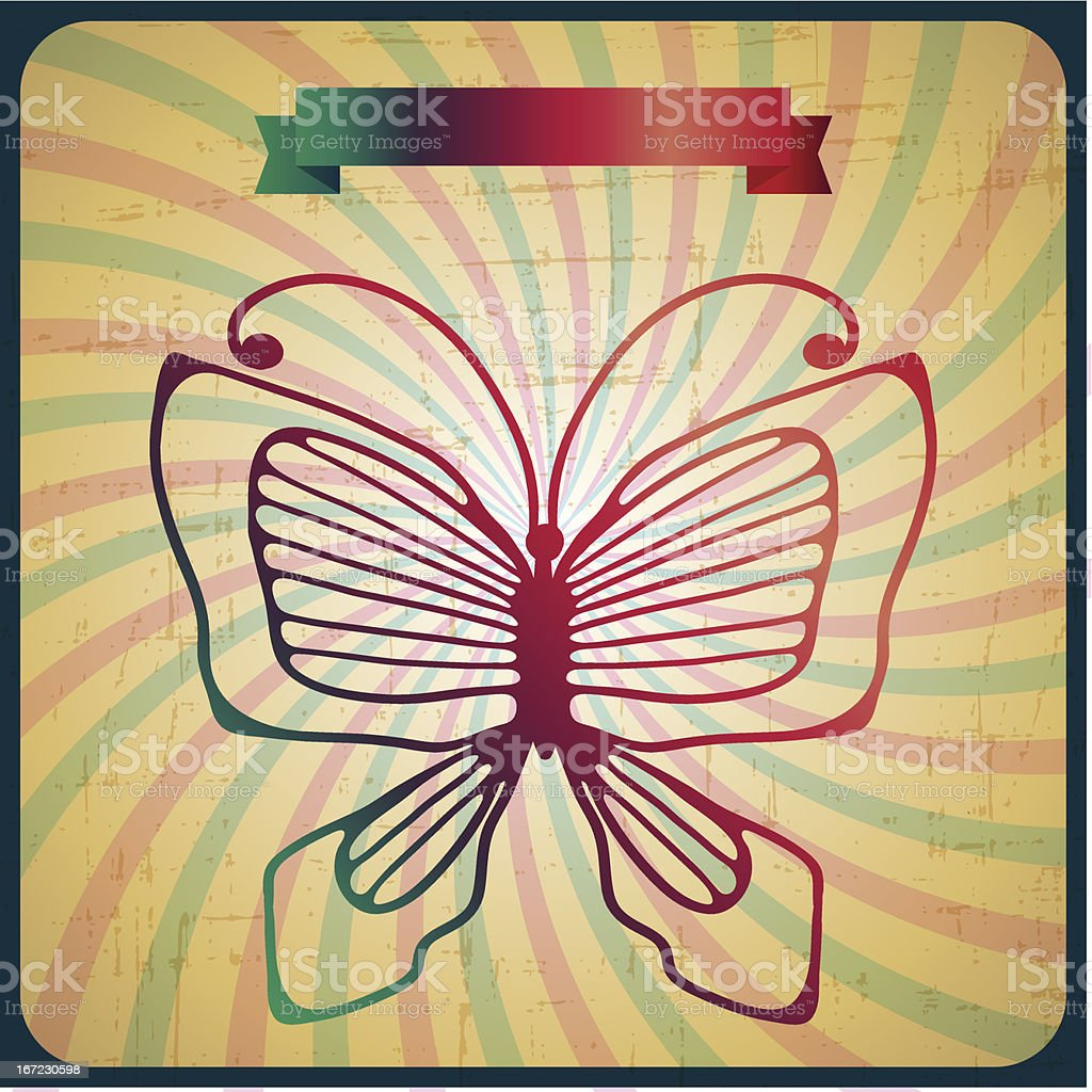 Retro poster with butterfly on old scrach background. royalty-free stock vector art