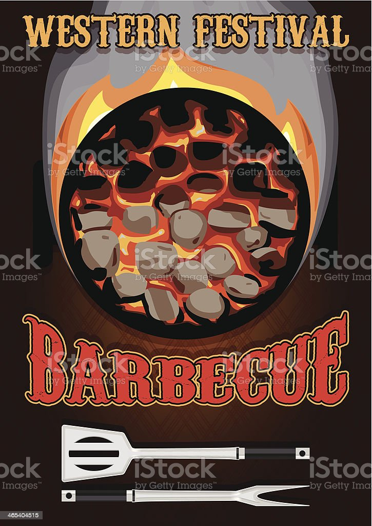 retro poster with hot coals for barbecue royalty-free stock vector art