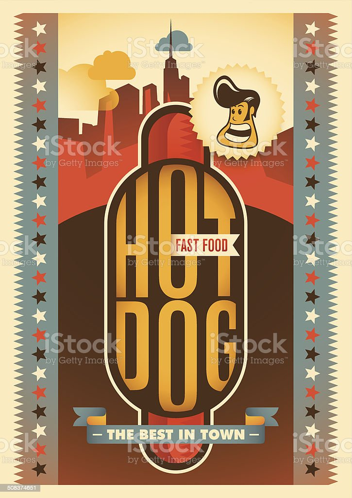 Retro poster with hot dog. royalty-free stock vector art