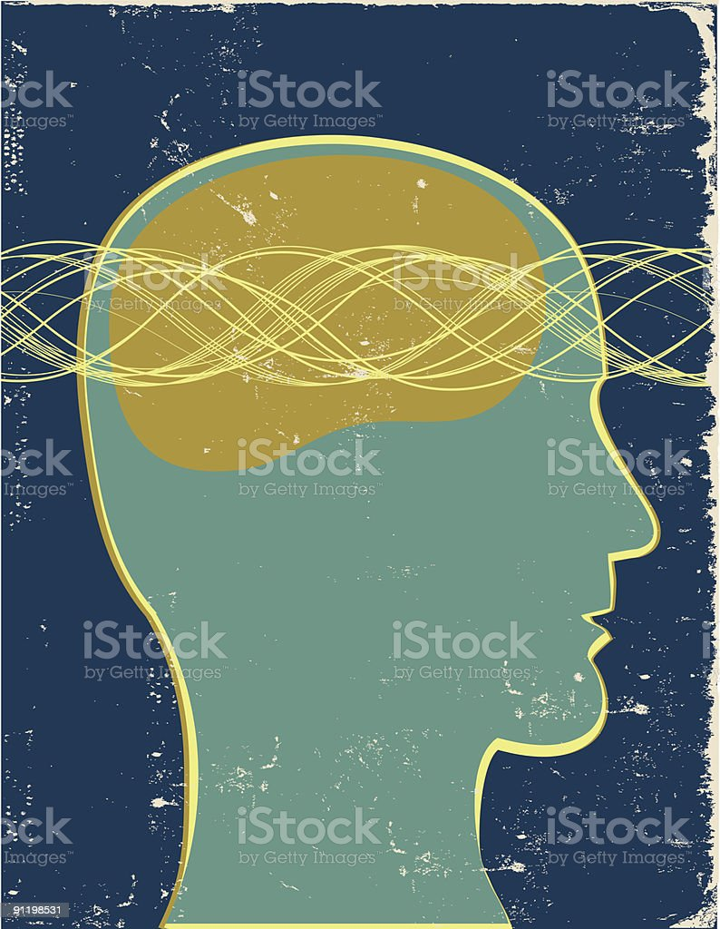 Retro profile with brain waves royalty-free stock vector art