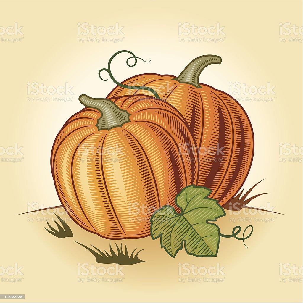 Retro pumpkins royalty-free stock vector art