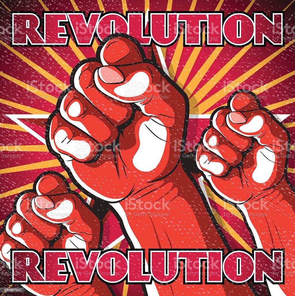 Retro Punching Fist Revolution Sign. vector art illustration