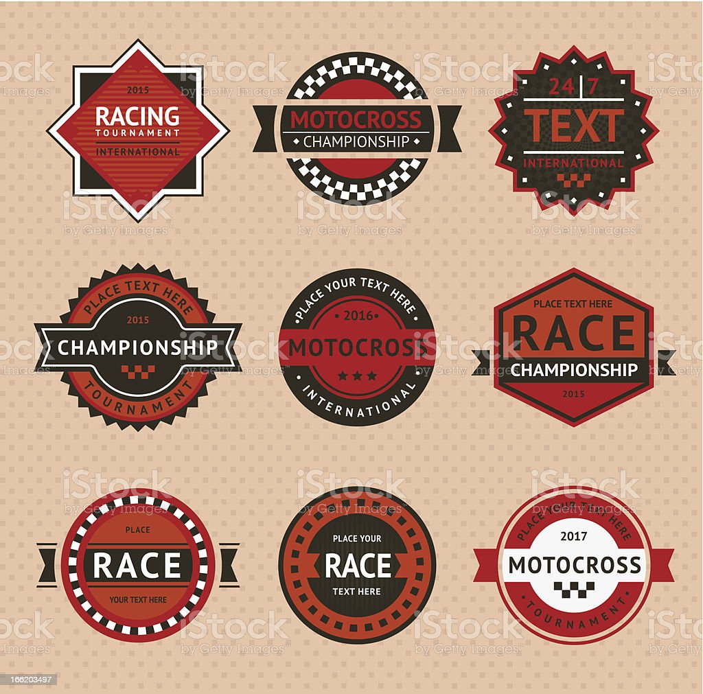 Retro racing badges in red, white and black vector art illustration