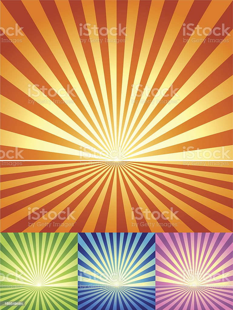 Retro Radial light and ground Background in 4 color sets vector art illustration