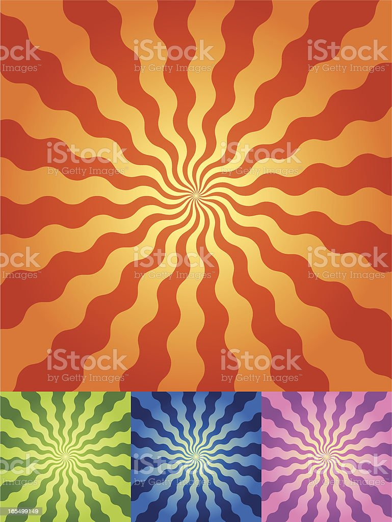 Retro Radial Wave Background in 4 color sets vector art illustration