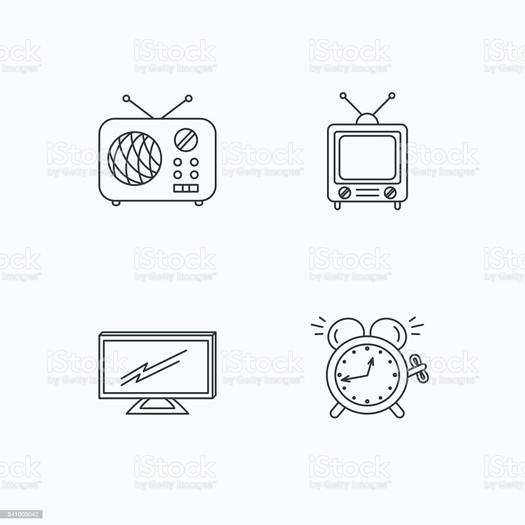 TV, retro radio and alarm clock icons. vector art illustration