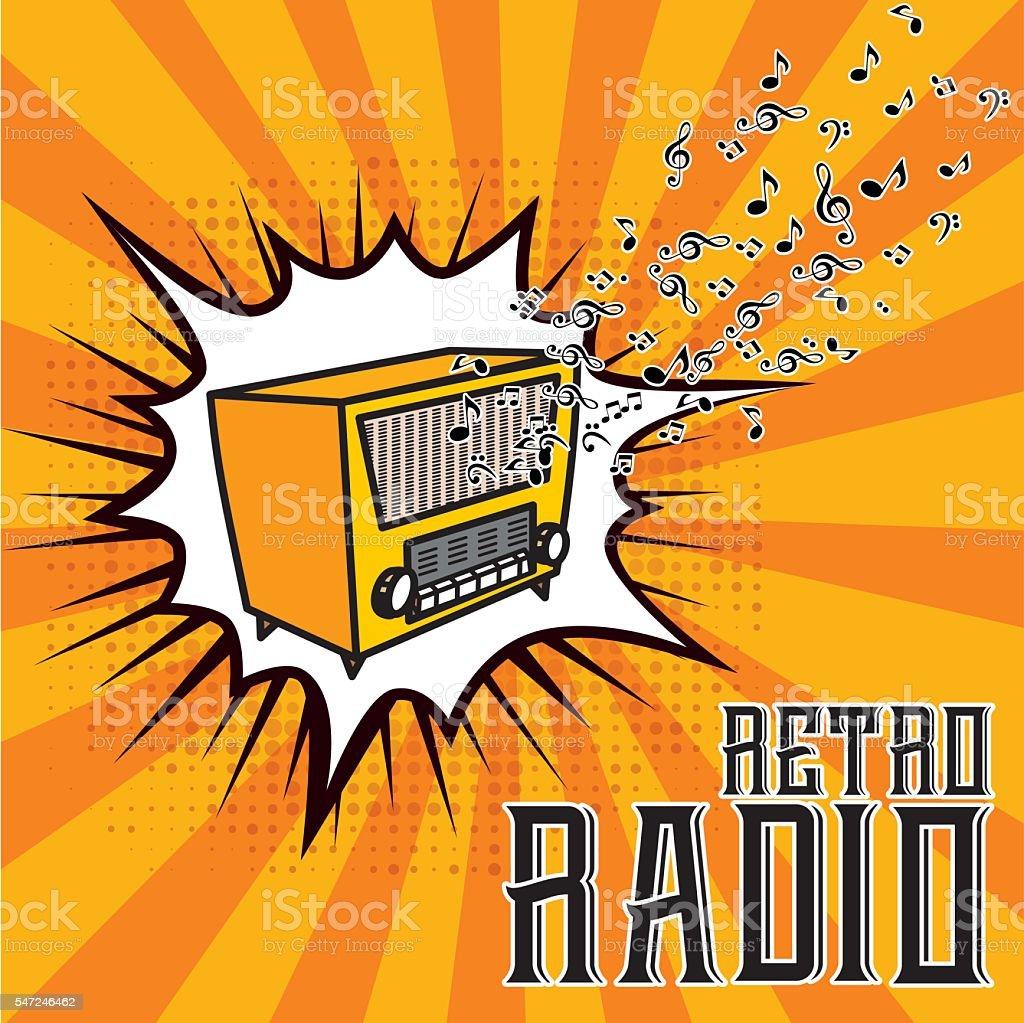 Retro radio - Illustration vector art illustration
