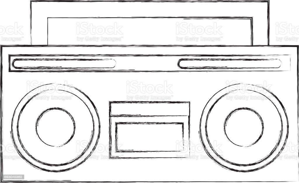 retro radio isolated icon vector art illustration