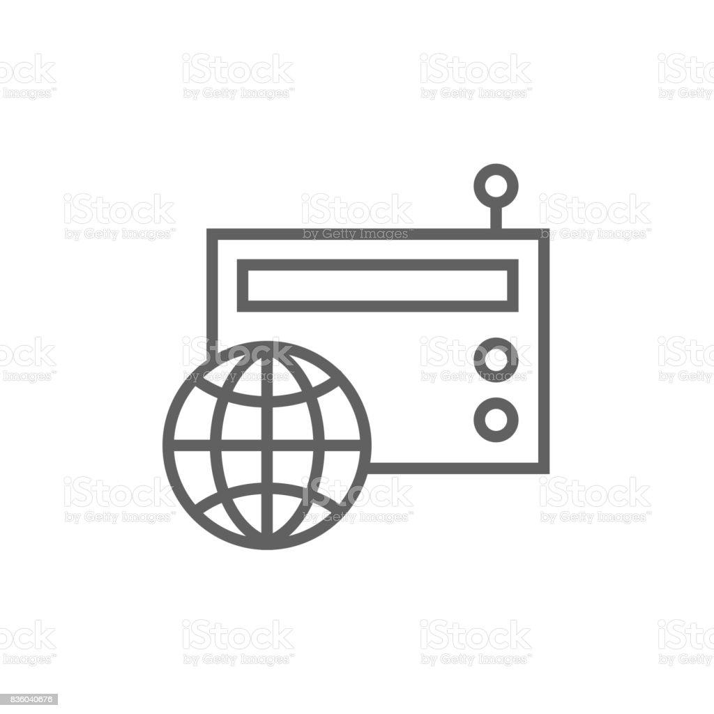 Retro radio line icon vector art illustration