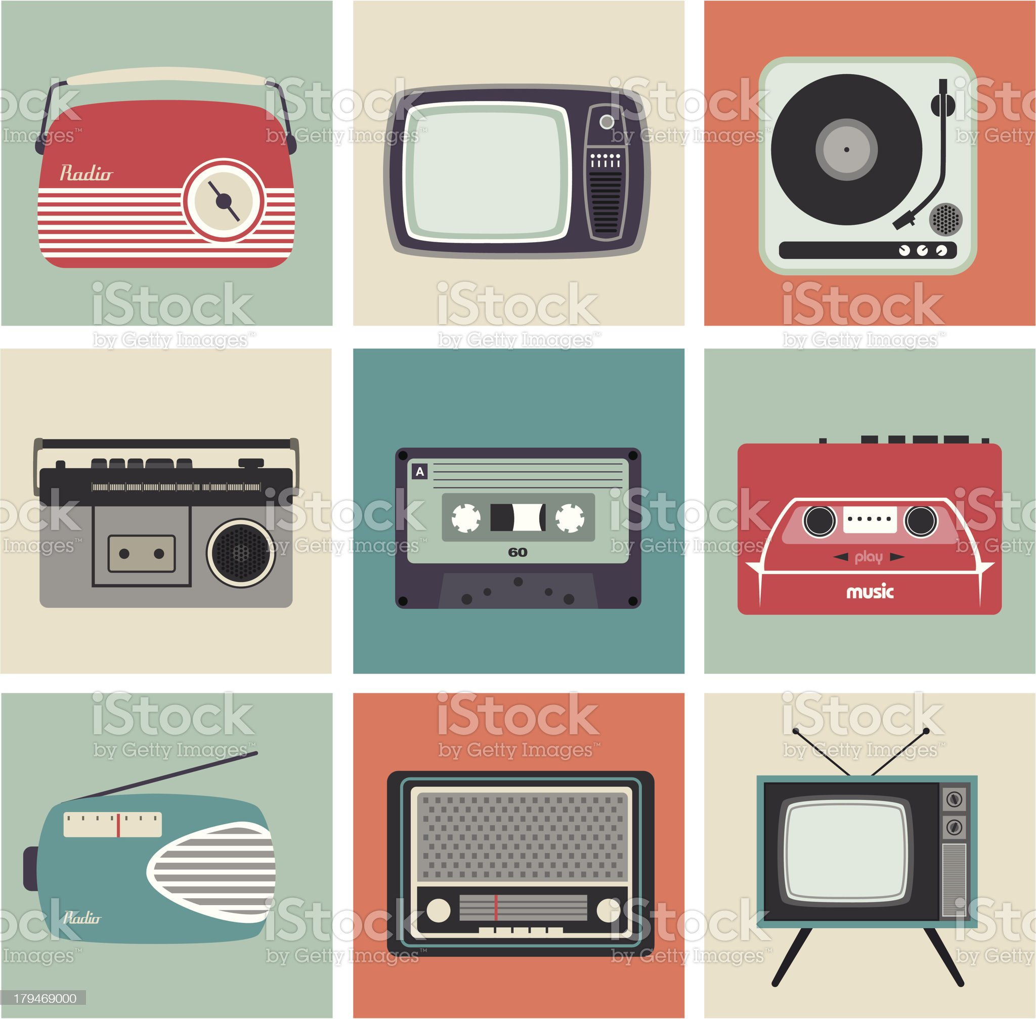 Retro Radio, TV and Other Electronic Equipment royalty-free stock vector art