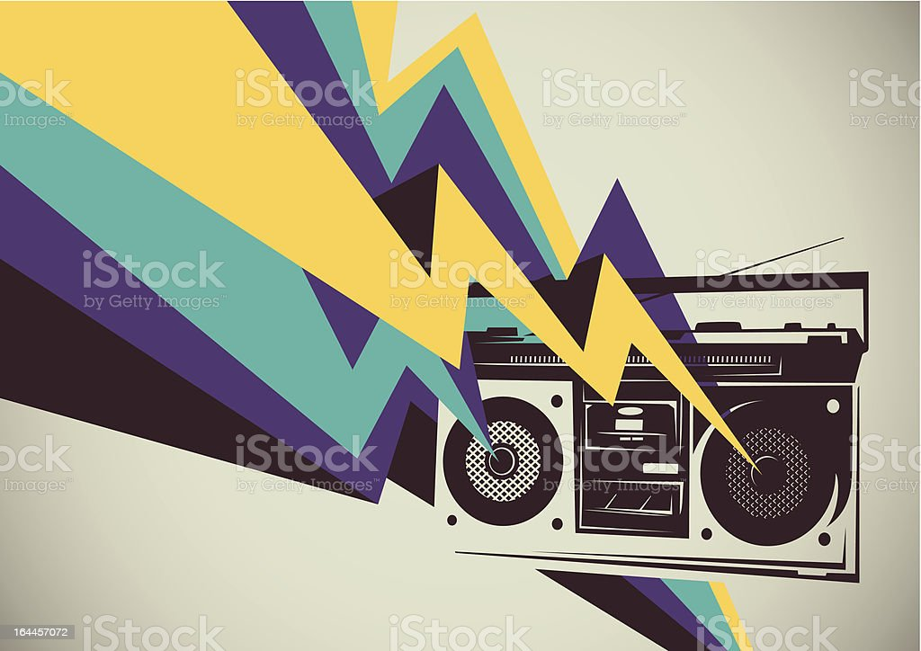 Retro radio with colorful abstraction. vector art illustration