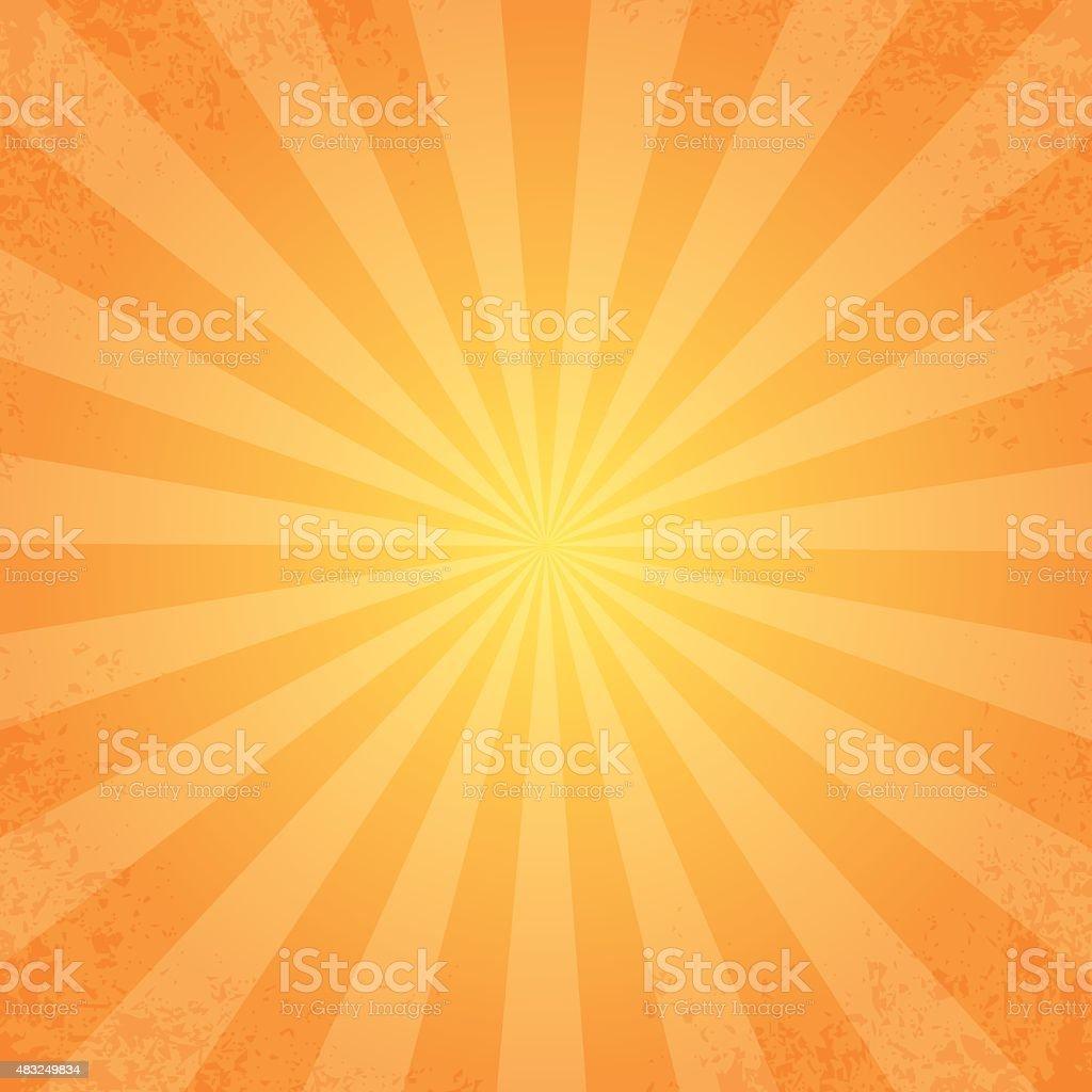 retro rays orange background vector art illustration