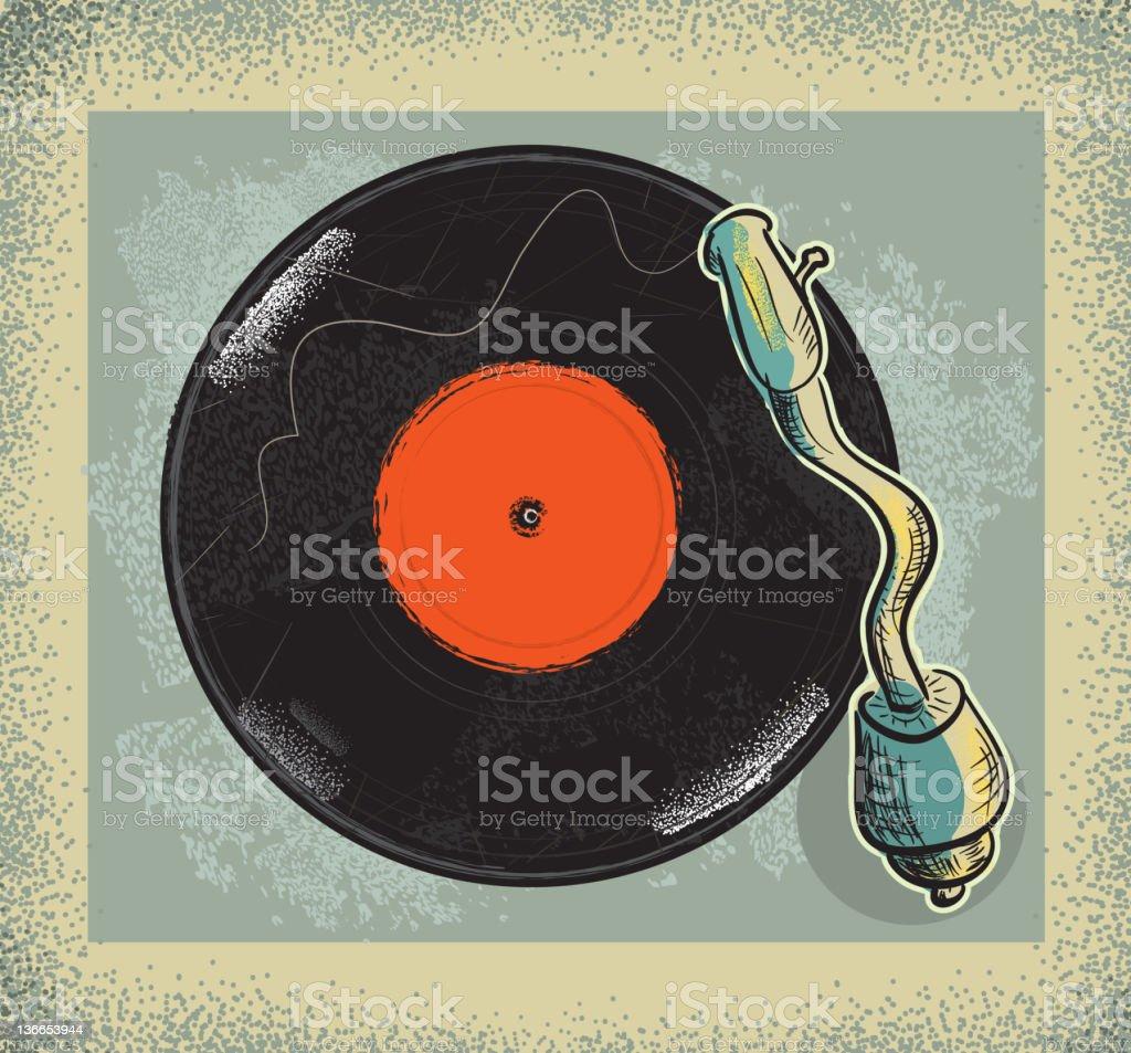 Retro record player design vector art illustration