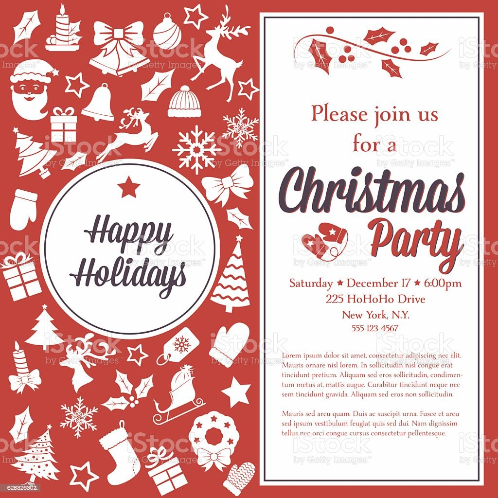 Retro Red and White Christmas Party Invitation Template vector art illustration