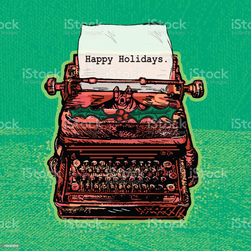 Retro red antique typewriter with Holiday theme royalty-free stock vector art