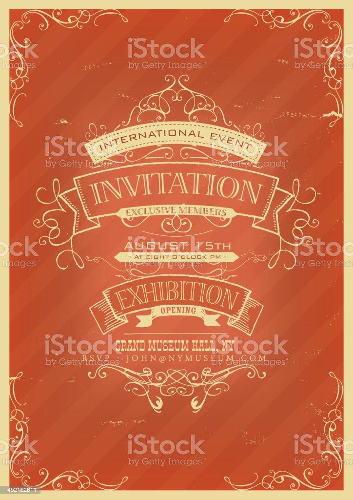 Retro Red Invitation Background royalty-free stock vector art